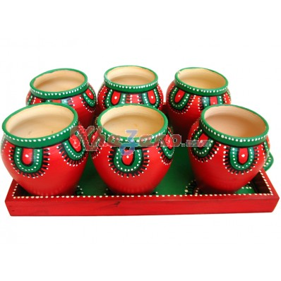 Terracota Glass Set With Tray