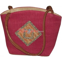 Jute Bag in Red Patch Work